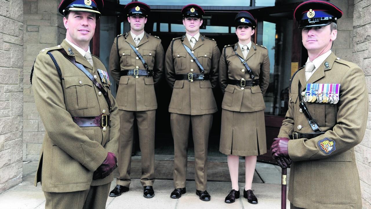 CO Lt Col Tom Marsden, Lt Grant Wink, 2nd Lt Craig Aitken, Lt Ruth Cork, and RSM Joe Aldridge.