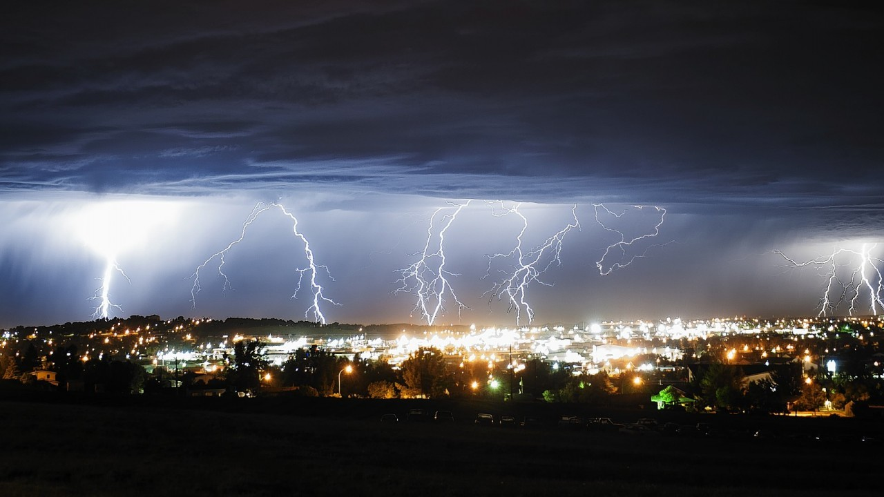 Lightning strikes early Monday morning, July 7, 2014,  north of Gillette, Wyo. According to the National Weather Service, there was about of 0.08 inches of precipitation and the forecast is predicting more showers and thunderstorms throughout the week