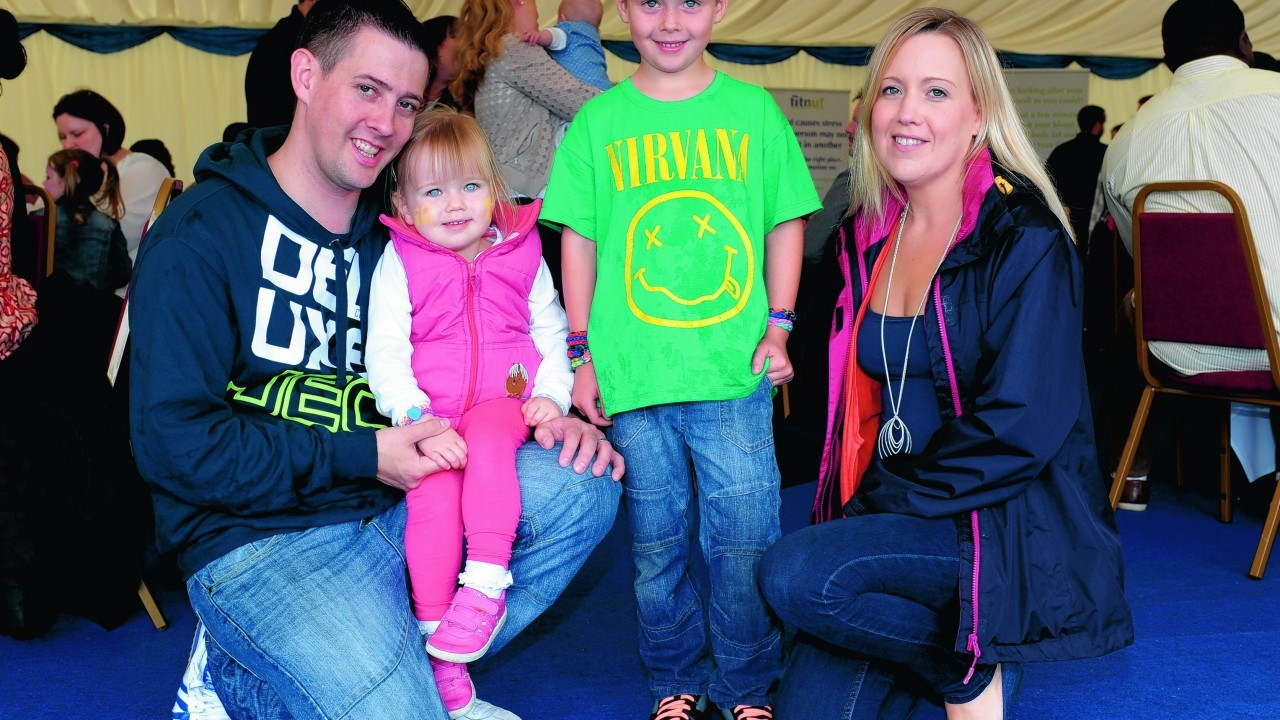 Oliver and Gillian Farrell with (L-R) Abigail, 2, Josh, 7.