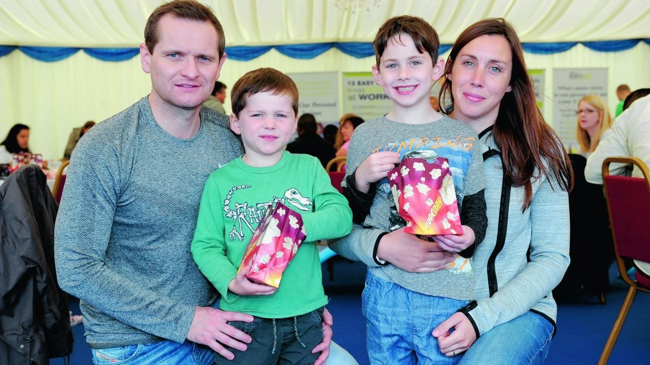Steve and Anna Clinton with (L-R) Ciaran, 4, Aidan, 6.
