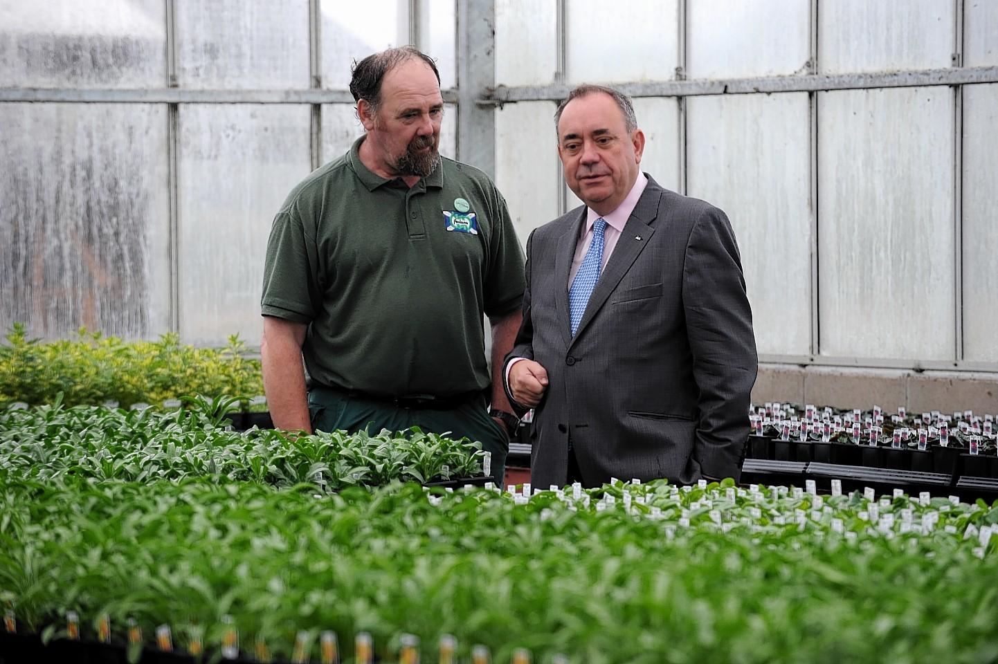 Alex Salmond at Foxlane garden Centre, with owner Gordon Henderson