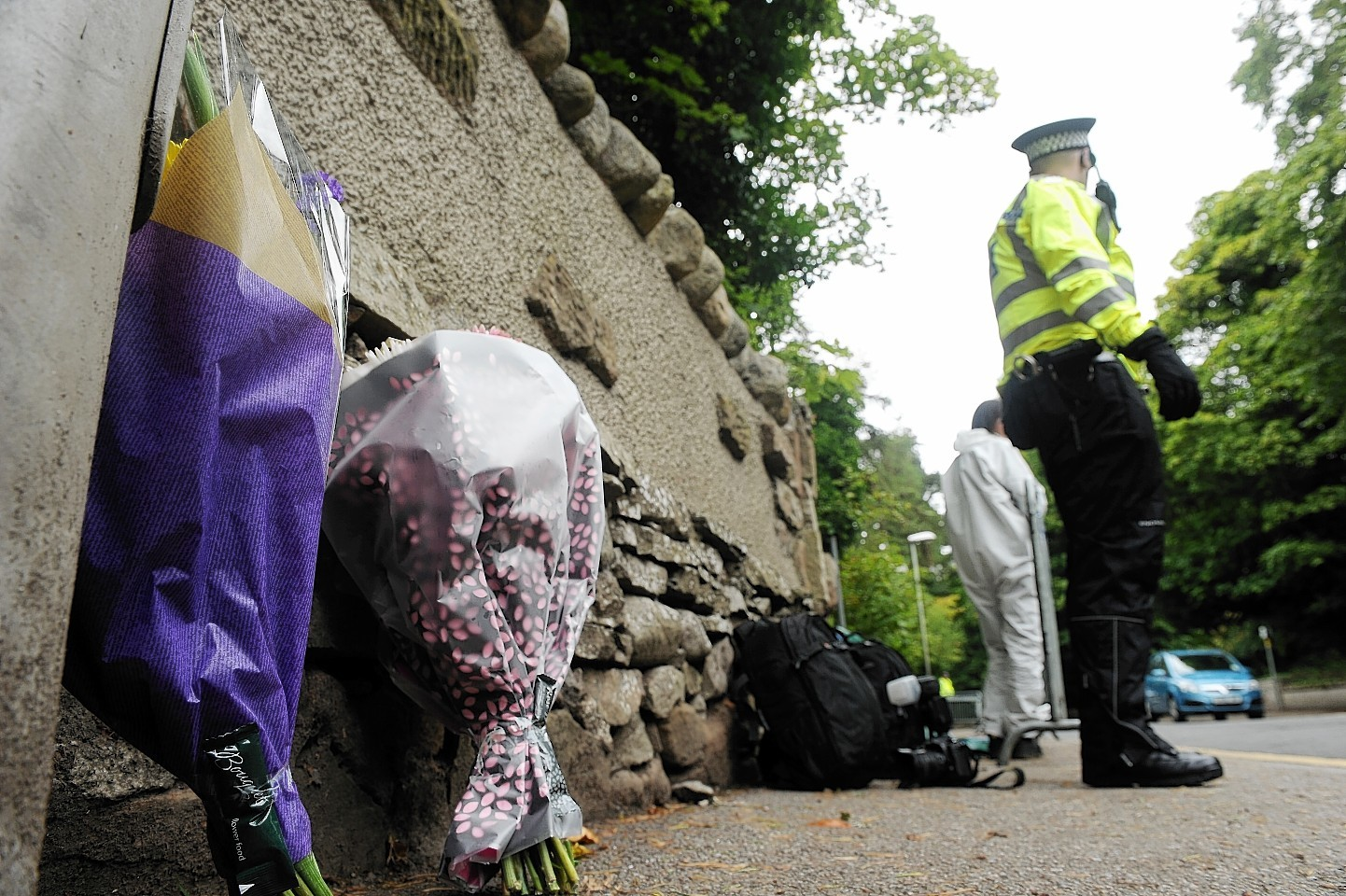 Flowers laid near the area where Charlotte Hornby was found dead.