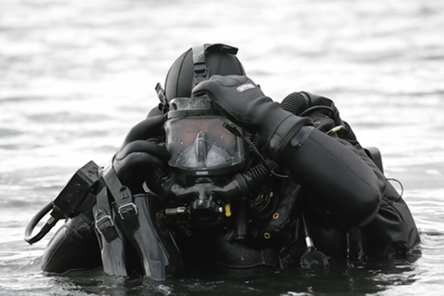 A diver with one of Divex's rebreathers