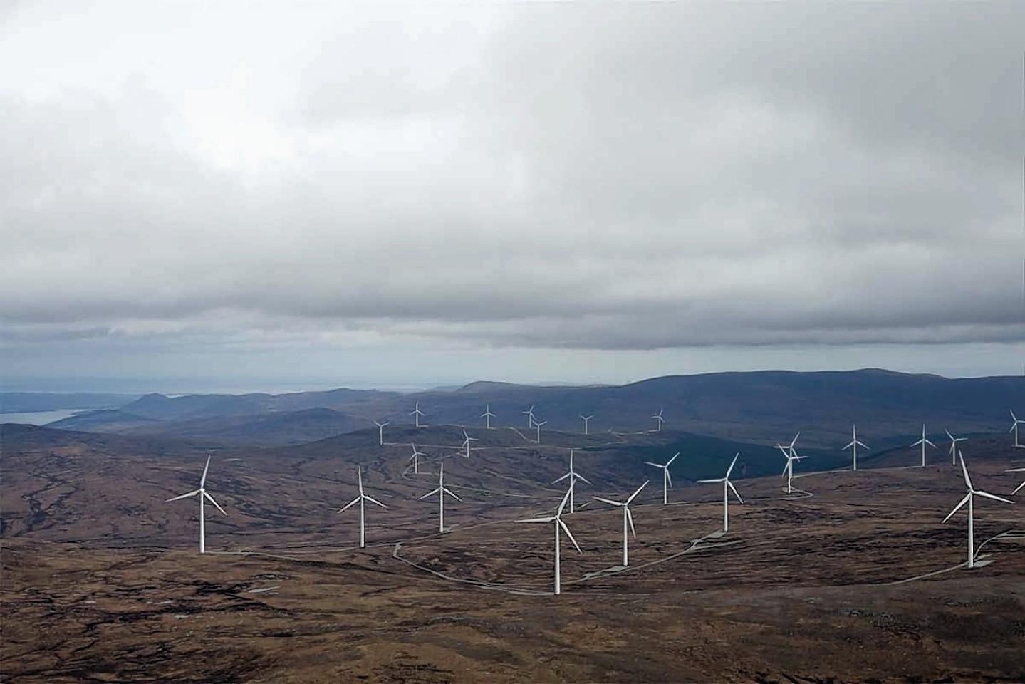 A photomontage of the Glenmorie windfarm.