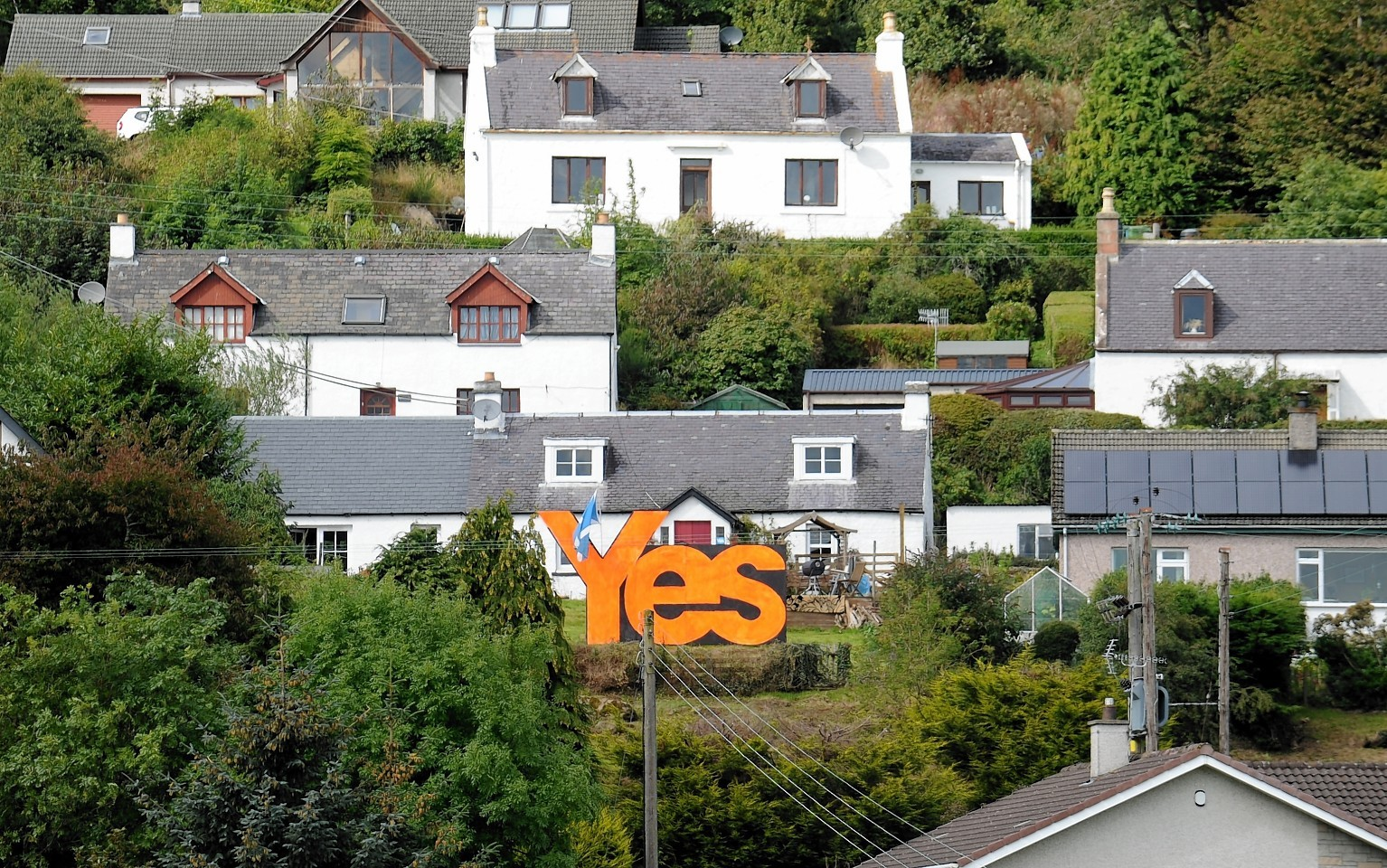 Giant Yes sign in Inverness