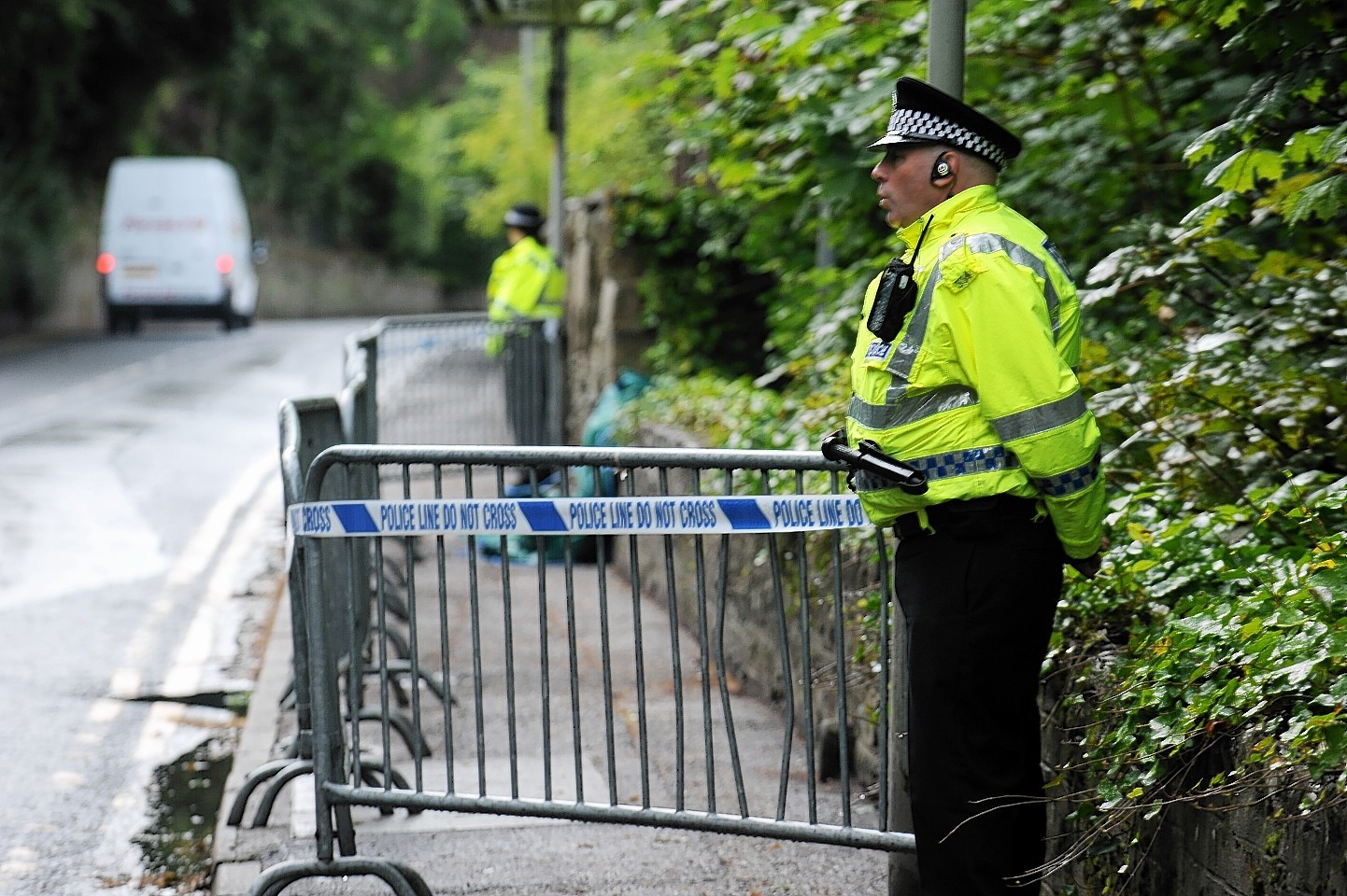 Police at the scene where Charlotte's body was found