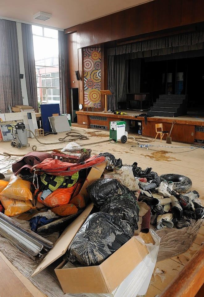 Kingussie High School was hit by floods