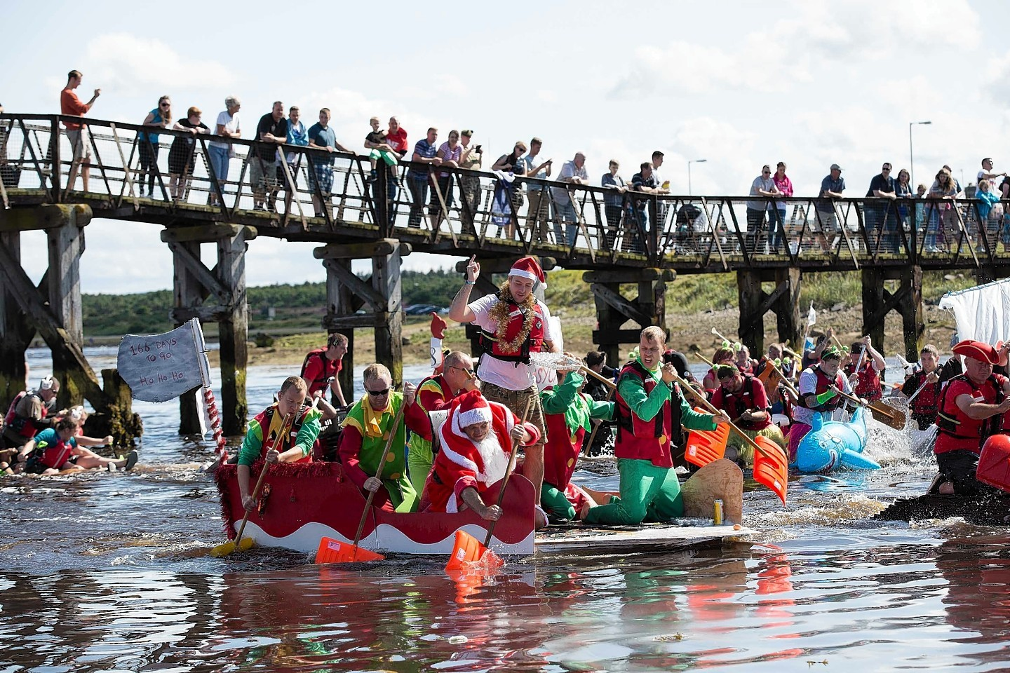 Lossiemouth Raft Race in action