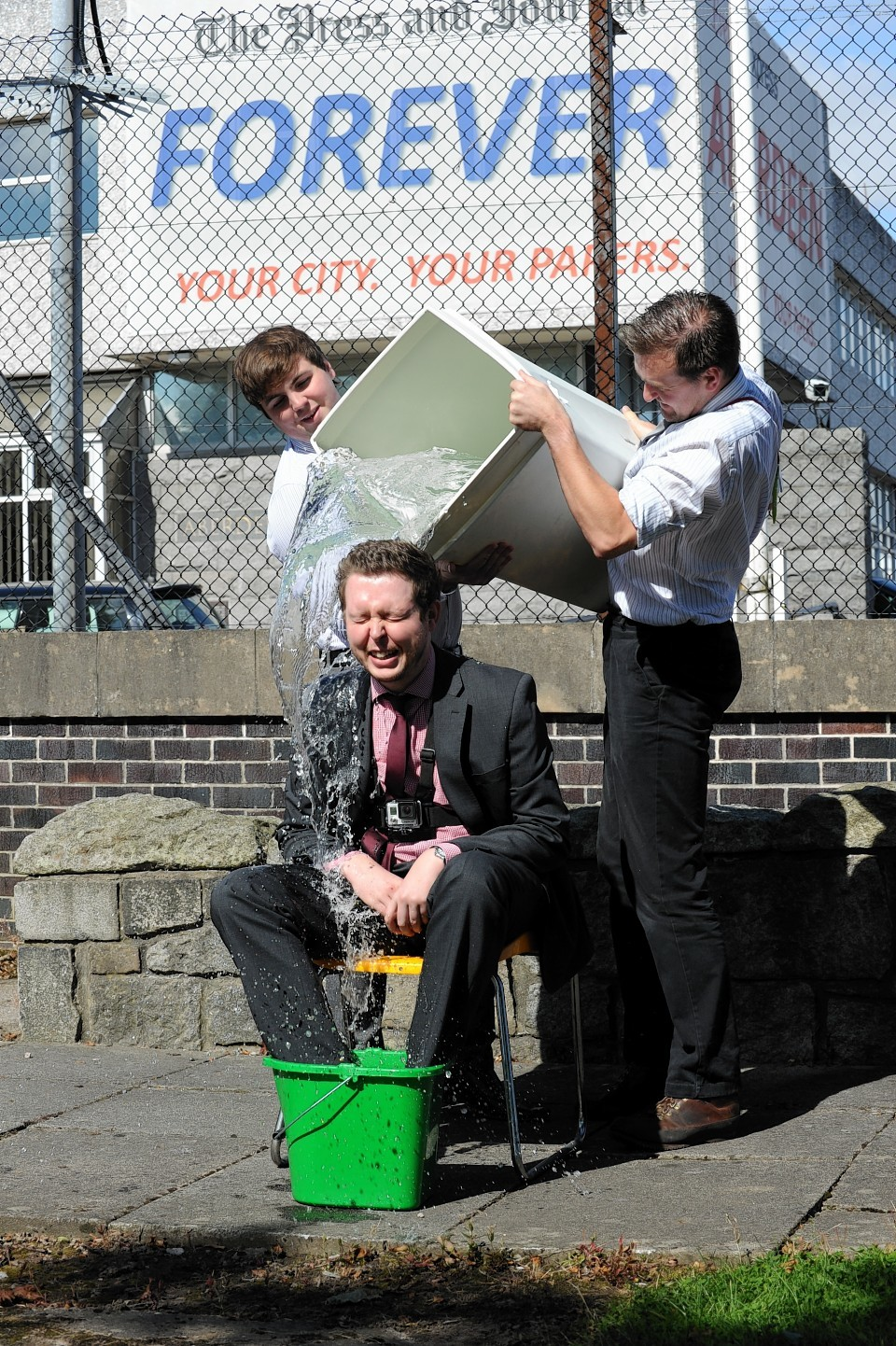 The Press and Journal's online editor Martin Little accepts the ice bucket challenge
