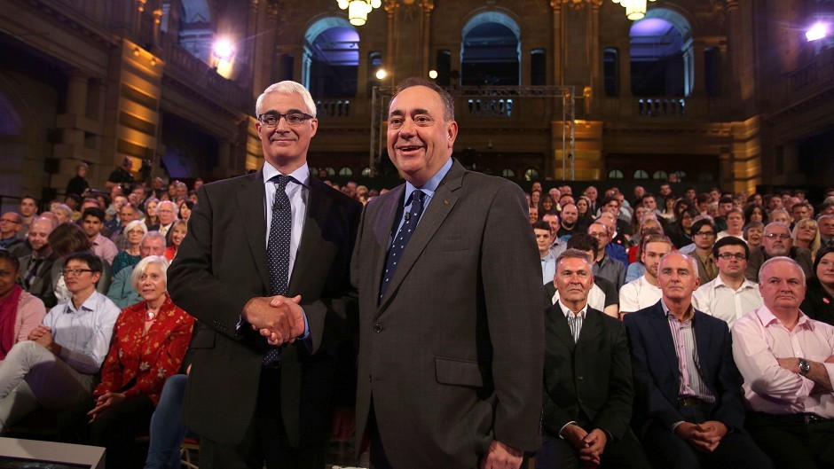 Better Together leader Alistair Darling and First Minister Alex Salmond ahead of the second TV debate over Scottish independence at Kelvingrove Art Gallery and Museum in Glasgow