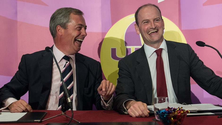 UKIP leader Nigel Farage (left) with Douglas Carswell who has defected from the Conservatives