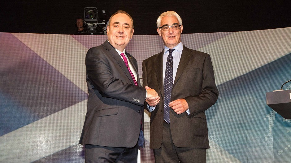 Scotland's First Minister Alex Salmond (left) and former chancellor, the leader of the pro-UK Better Together campaign, Alistair Darling at a TV debate of the independence referendum campaign in Glasgow (Devlin Photo Ltd).