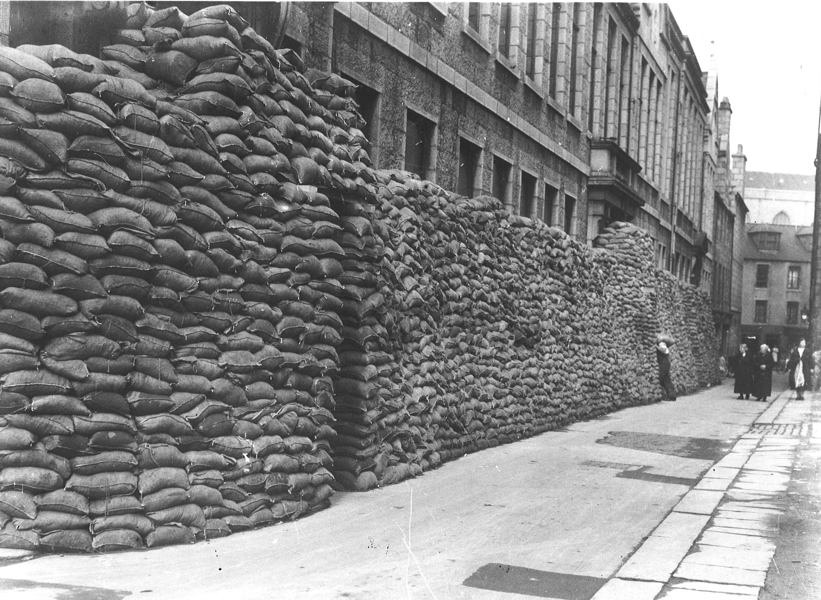 Preparedfor the tide of war - sandbags protect POlice HQ at Lodge Walk ABERDEEN