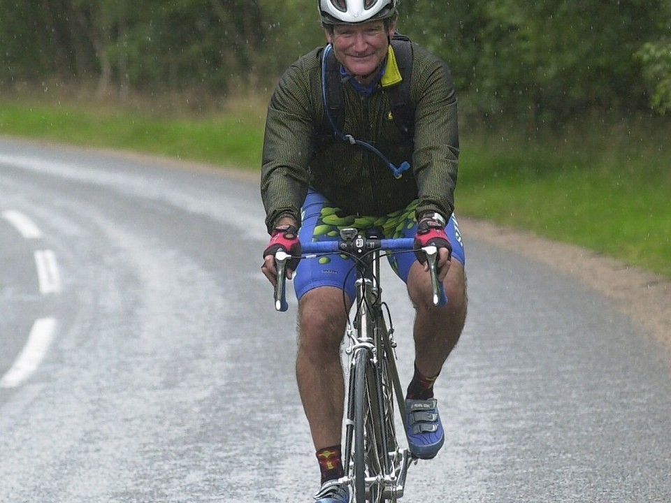 For years Hollywood actor, who brought joy to millions with his film and television roles, frequented Aberdeenshire's Lonach Gathering. Pictured cycling near Lonach Gathering in 2002.