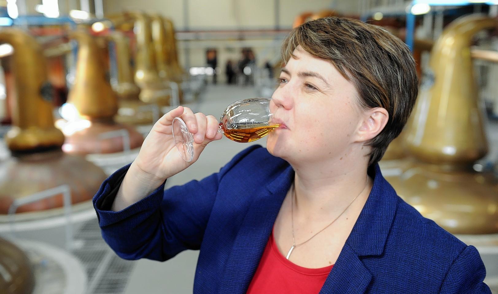 Ruth Davidson at the distillery