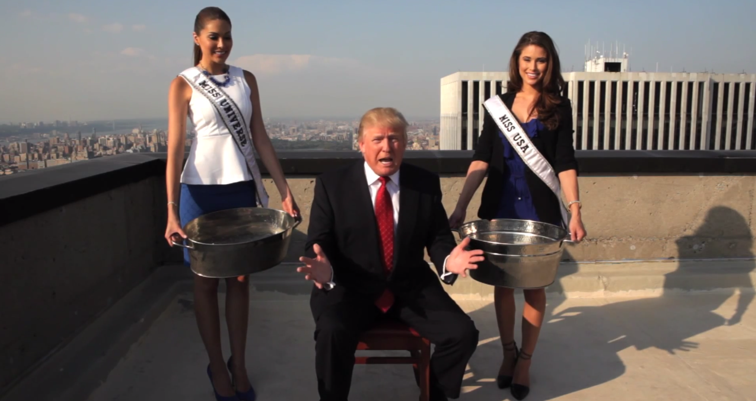 Donald Trump takes the ice bucket challenge