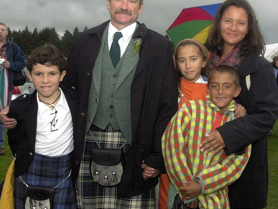 Williams with his family at Lonach Gathering in 2000
