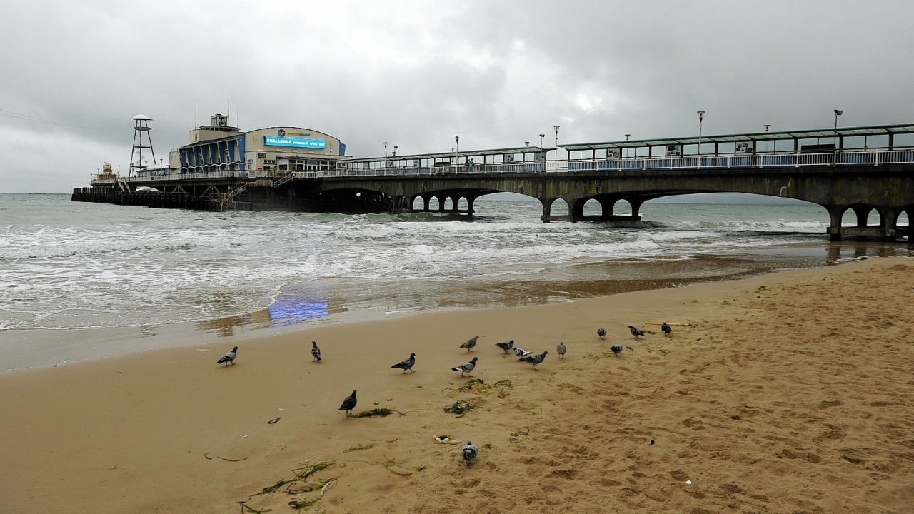 A deserted Bournemouth Beach on a rainy Bank Holiday Monday