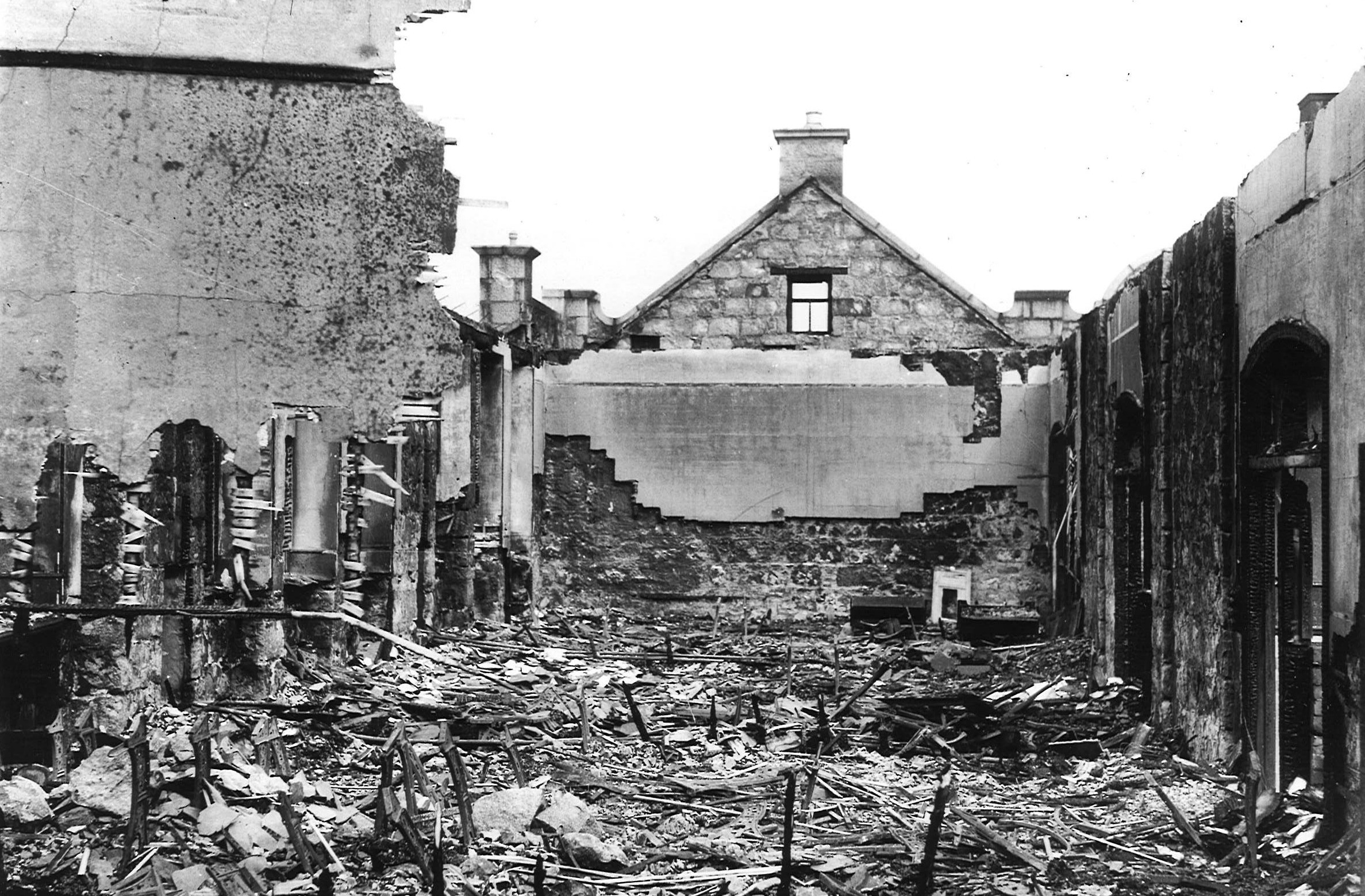 Victoria Road School after an air raid, July 1940
