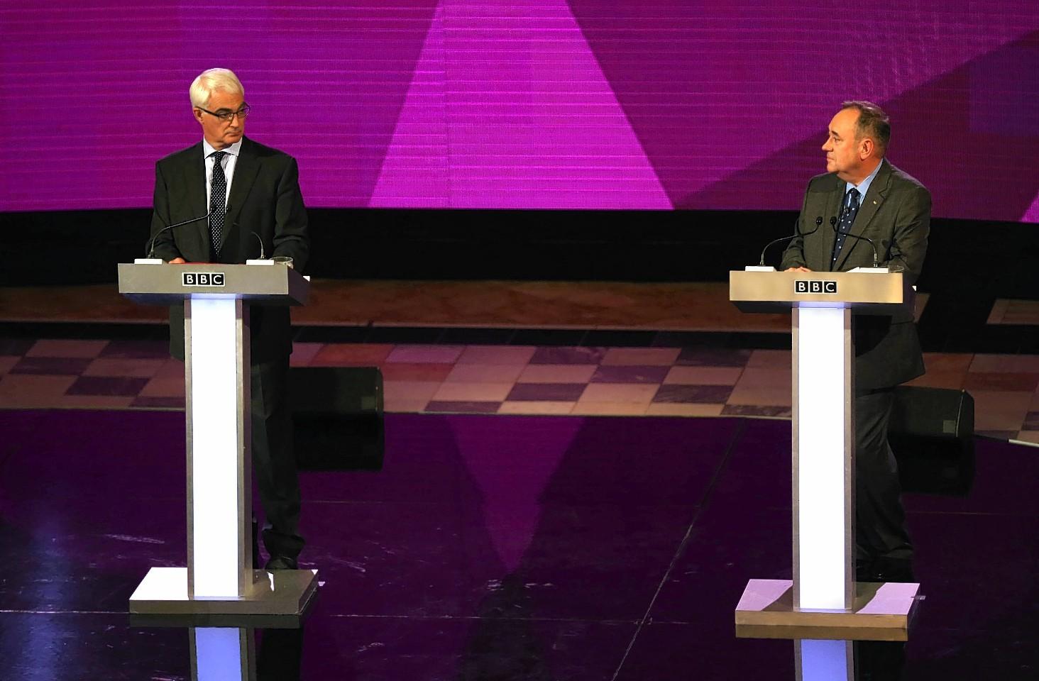 Alex Salmond and Alistair Darling in the second televised indyref debate
