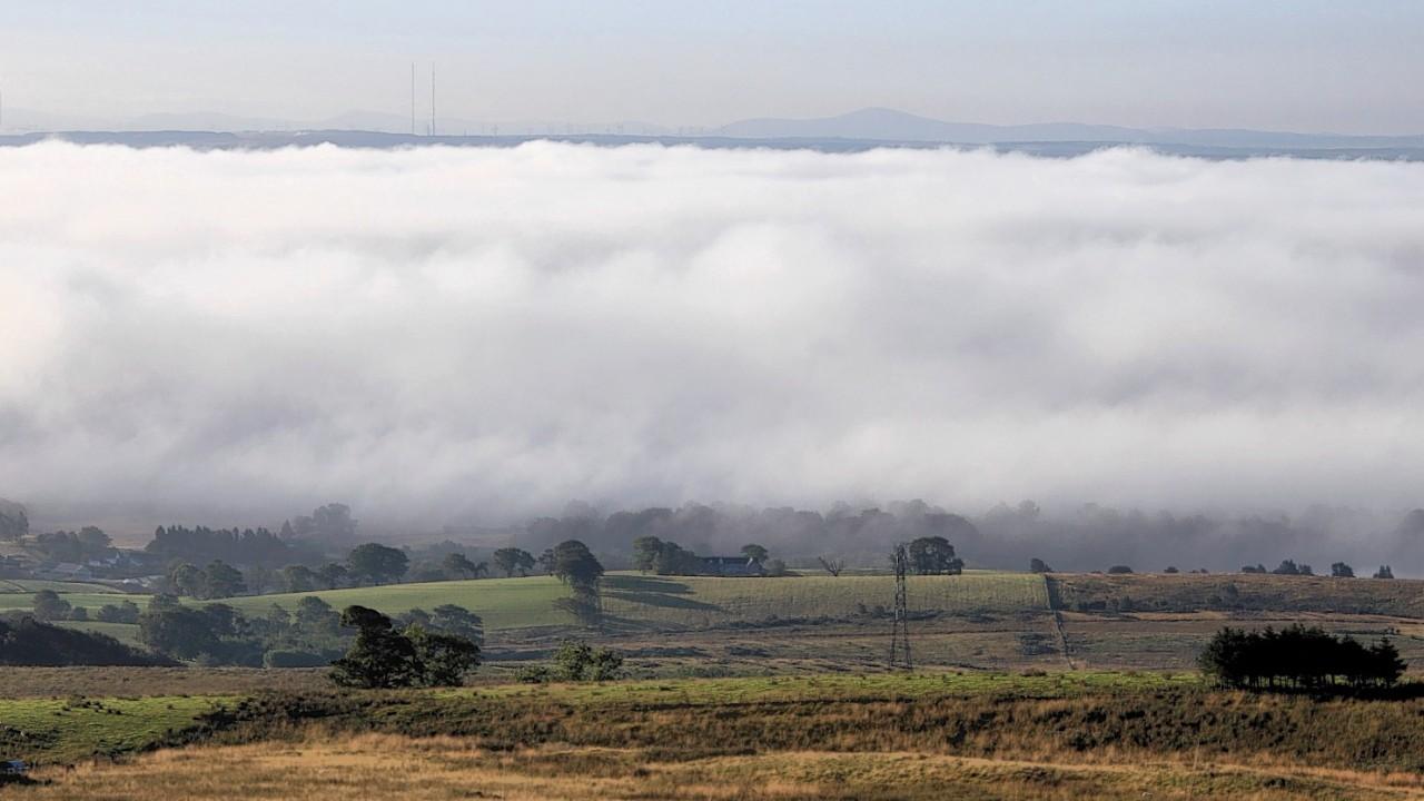 Morning mist banks roll over the Kelvin Valley, Kilsyth, North Lanarkshire