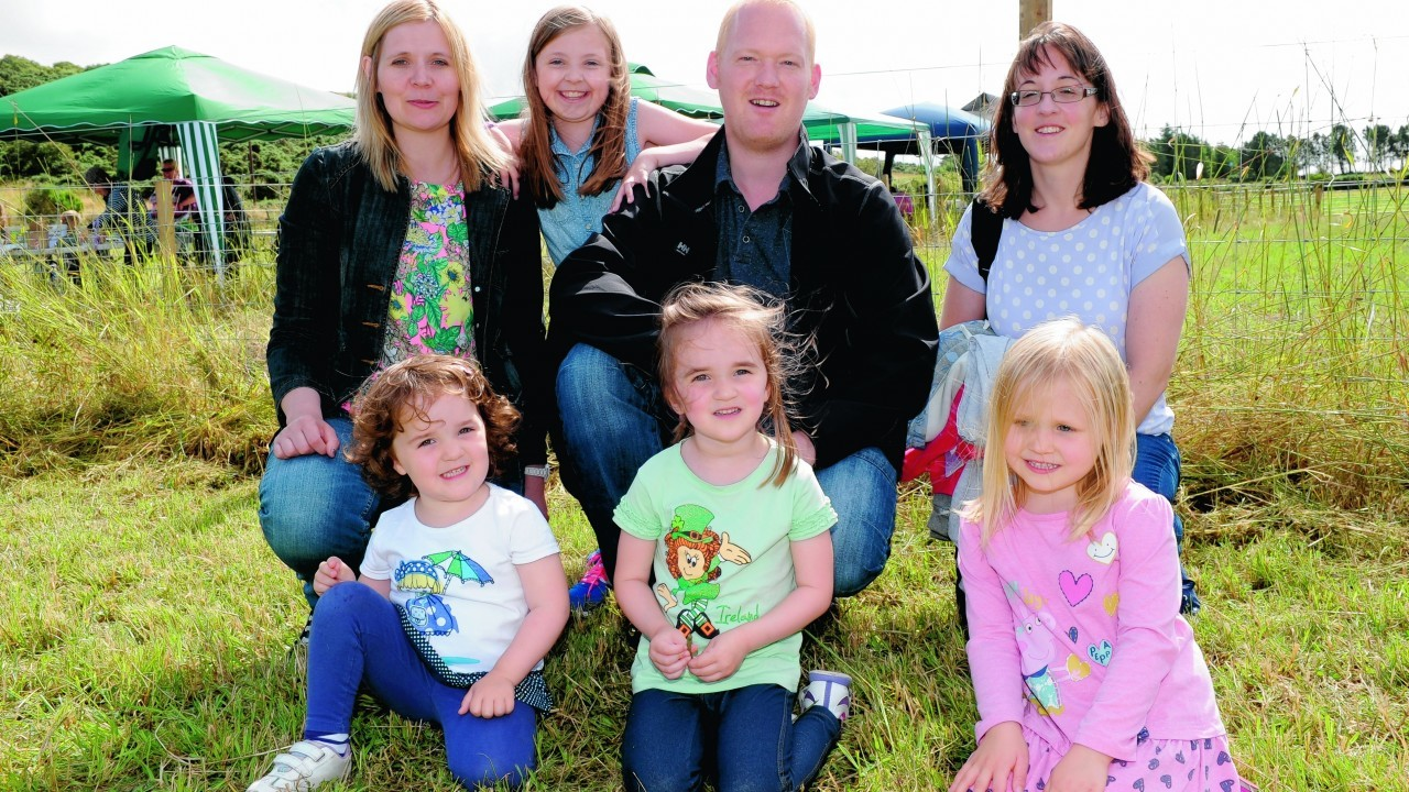 Claire, Ellie and Mark Watt with Erin Wood, (front left) Thea and Callie Wood and Hollie Watt