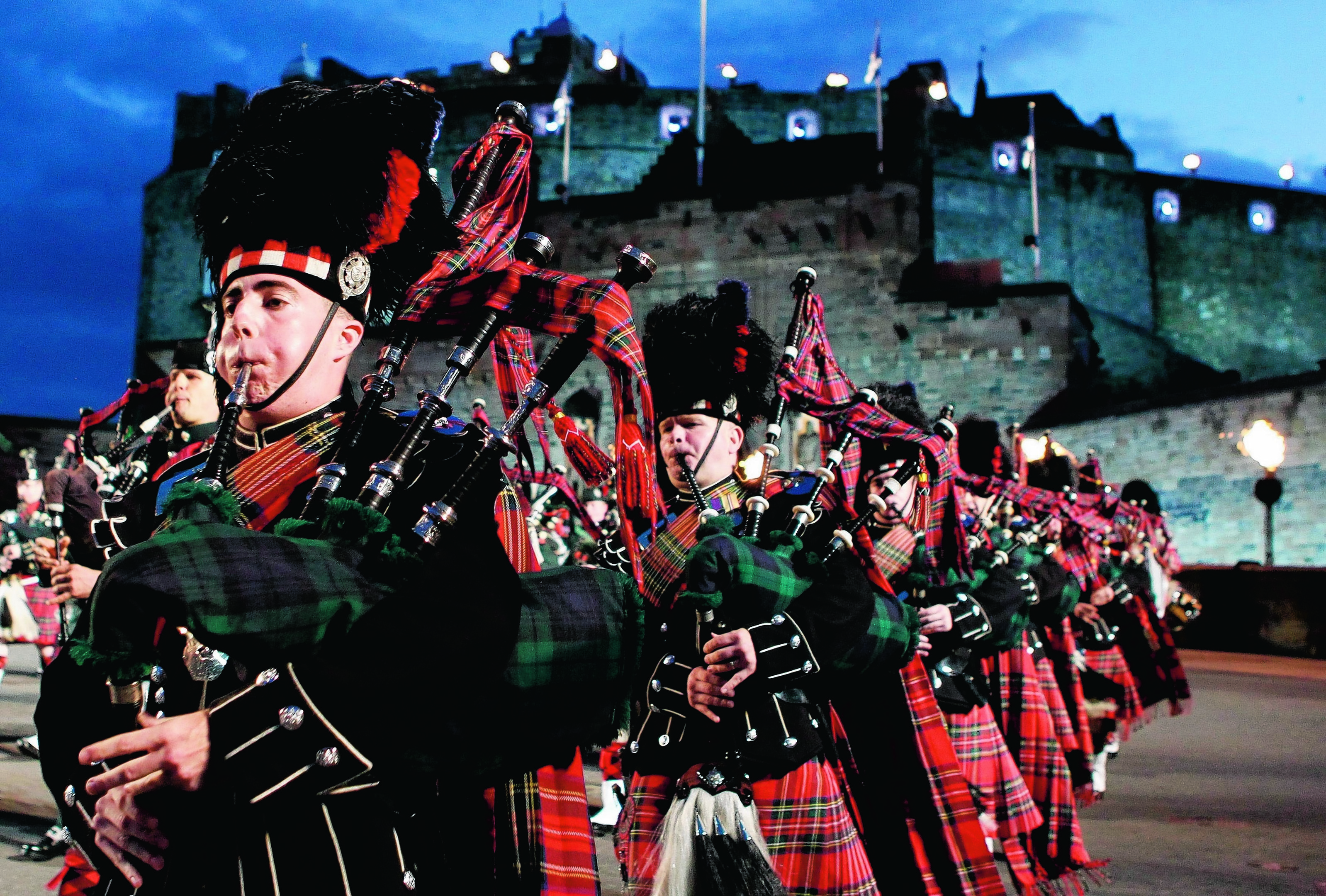The Massed Pipes and Drums during the Edinburgh Military Tattoo dress rehearsal at Edinburgh Castle
