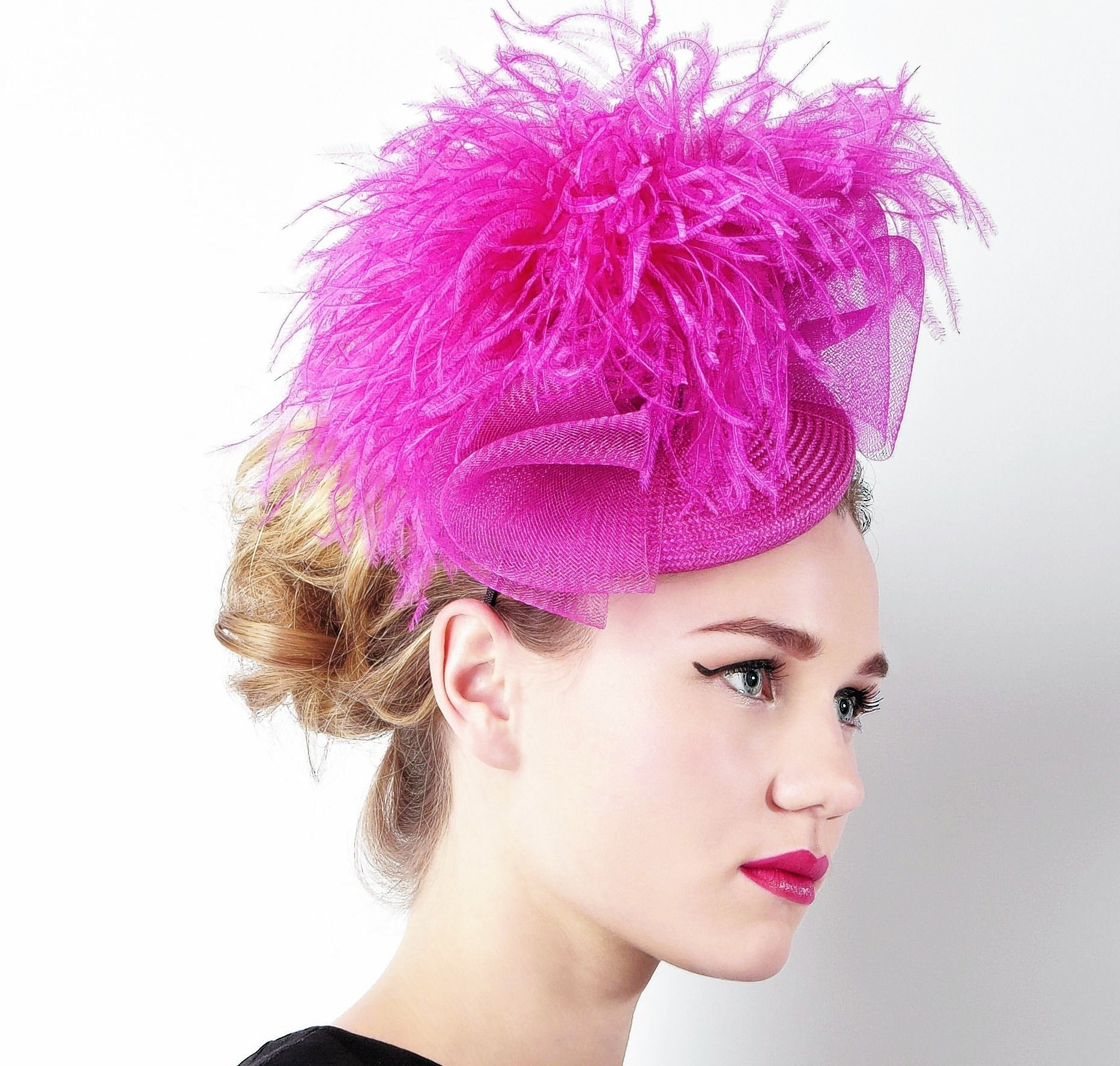 Ostrich pom hat, £150; William Chambers for Coast