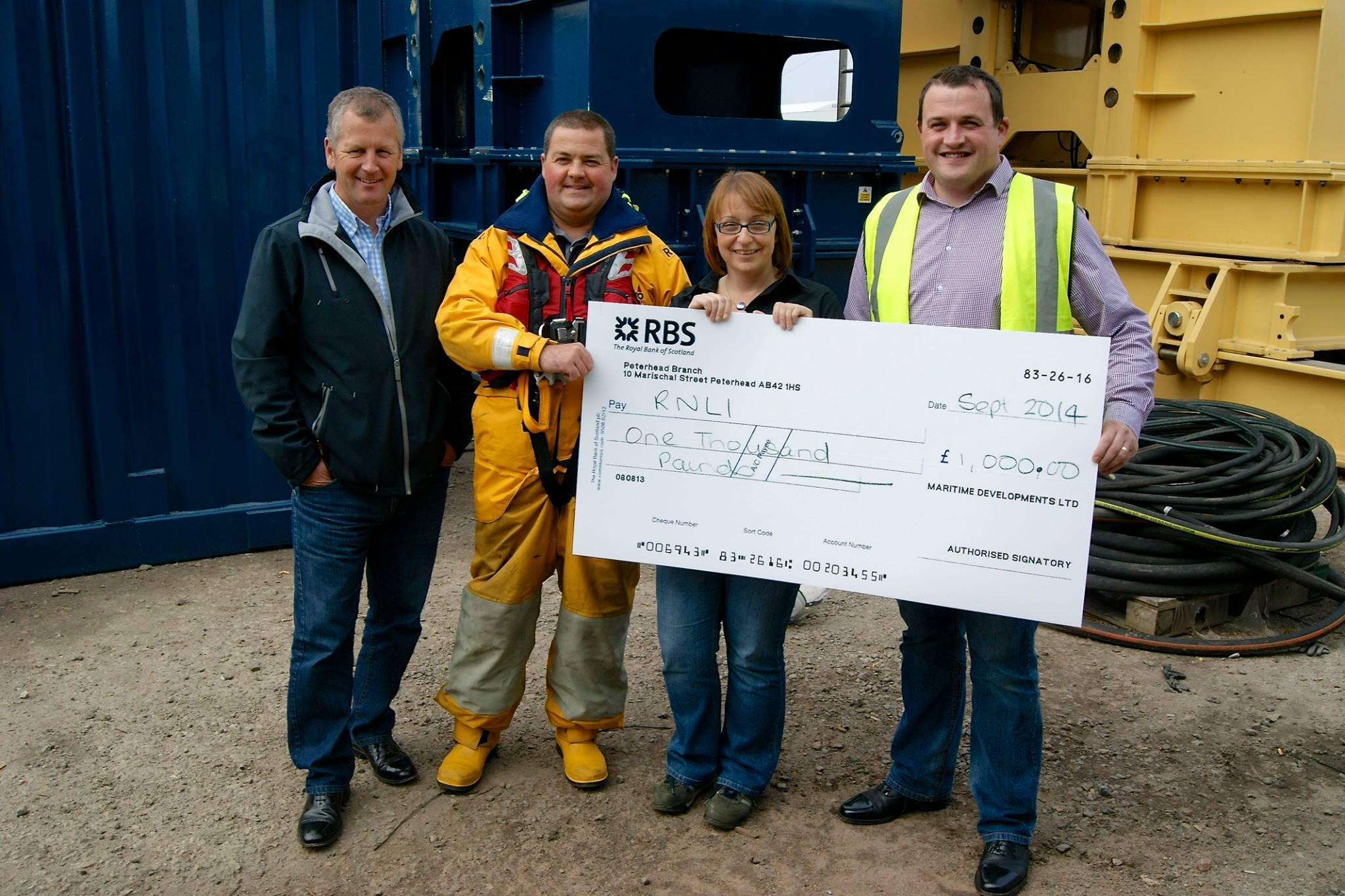 Maritime Developments' RNLI donation