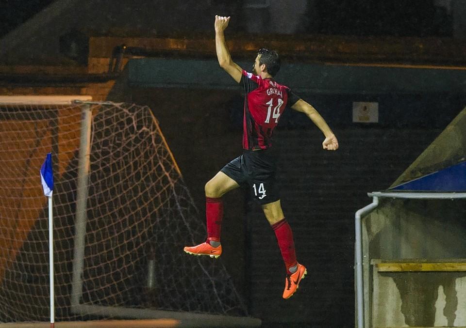 Brian Graham celebrates putting St Johnstone 1-0 up against Kilmarnock
