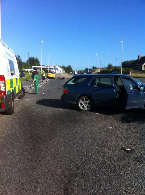 Crash on the A944 Aberdeen to Westhill. Picture by Twitter user @armcewan