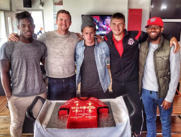 Stevie Caldwell celebrates his birthday with a Toronto FC cake