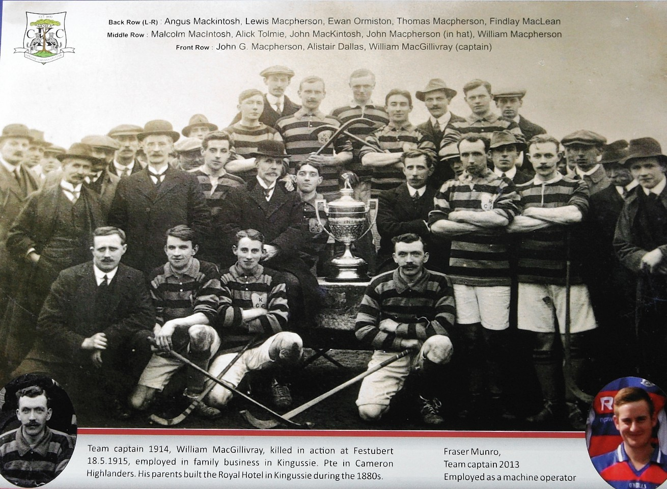 Players from Kingussie Shinty Club will this weekend pay an emotional tribute to their 1914 cup winning team