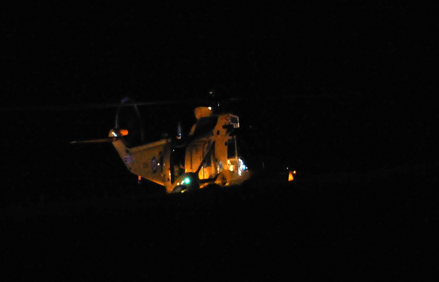 The RAF Sea King helicopter leaving to fly a patient to ARI. Credit: Duncan Brown.