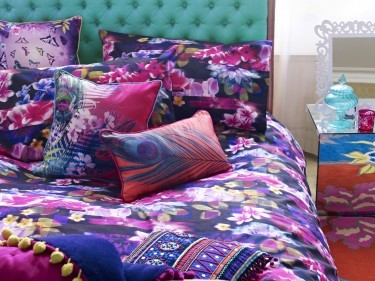 Duvet set £60, cushions £26-£28 and Throw £120 from Butterfly Home by Matthew Williamson at Debenhams