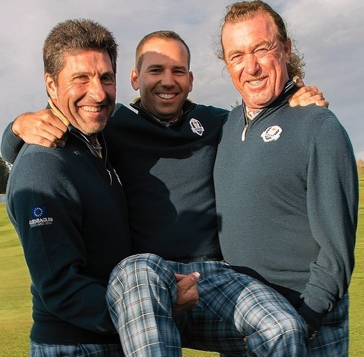 The Spanish trio of  Sergio Garcia and vice Jose Maria Olazabal and Miguel Angel Jiminez have also been enjoying themselves