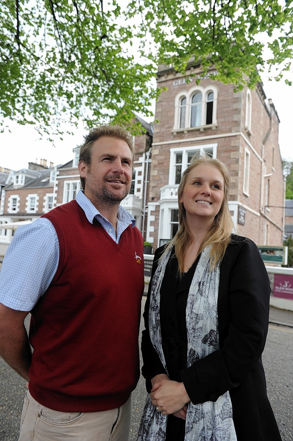 Jon Erasmus with his wife Victoria outside the Glen Mhor Hotel