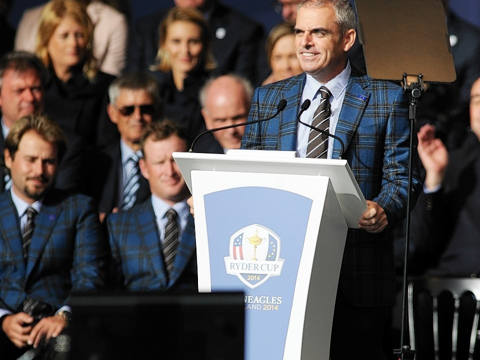 While captain Paul McGinley spoke on behalf of the European team and revealed his pairings for the opening day