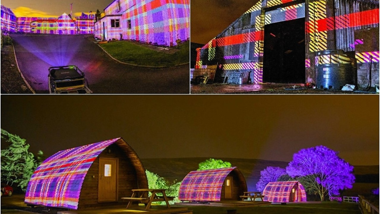 A group of digital artists and photographers have used the latest digital technology to shine lighting on Leyden Farm's buildings and barns to stunning tartan effect.