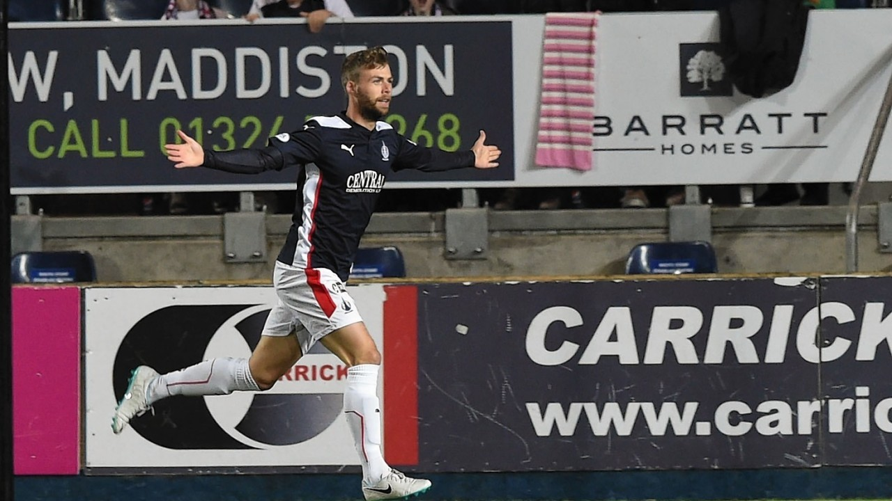 Loy ran to the Bairns support to celebrate his opener