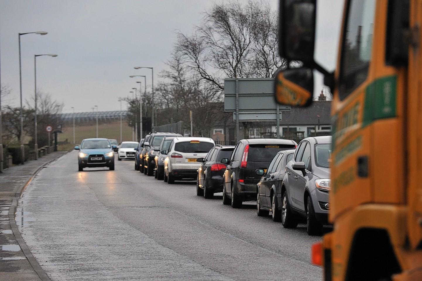 Traffic is building up around Westburn Road, Aberdeen