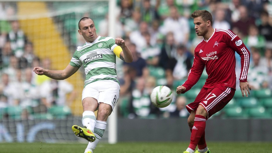 Celtic's Scott Brown, left, and Aberdeen's David Goodwillie during the Scottish Premiership match at Parkhead