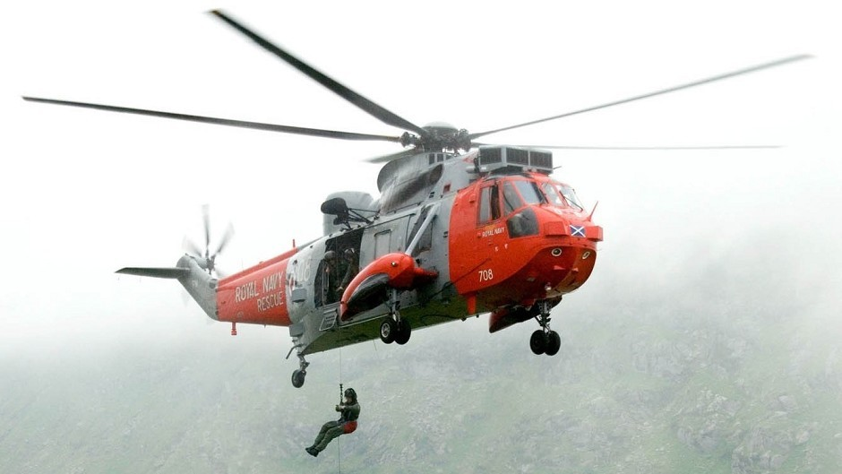 A Royal Navy Sea King helicopter