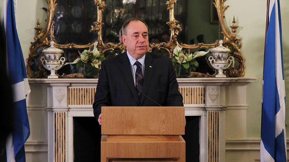 Alex Salmond announces his resignation at Bute House, Edinburgh (Scottish Government/PA)