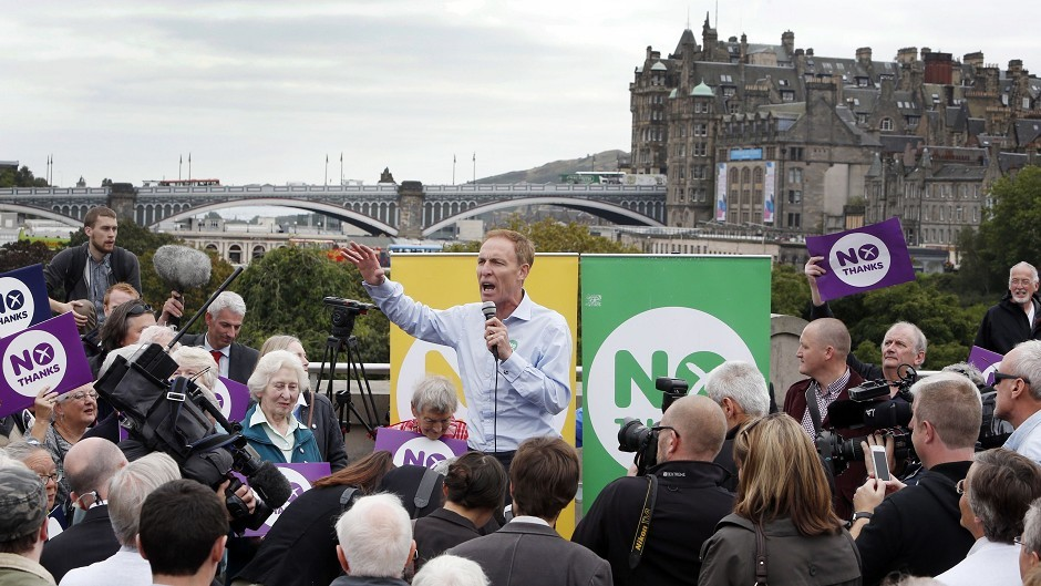 Jim Murphy resumes his 100 Streets in 100 Days Better Together tour outside the Royal Scottish Academy in Edinburgh