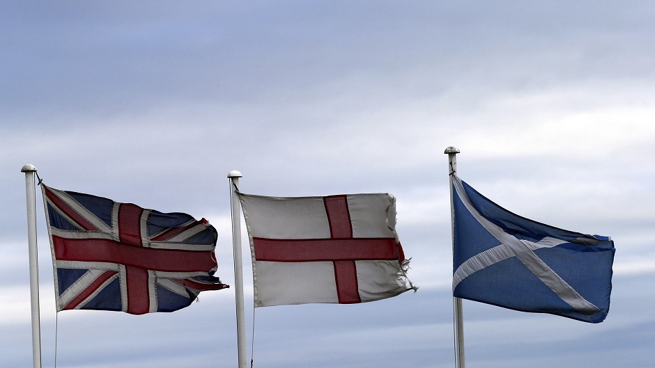 From left, the Union Jack, St George's Cross and the Saltire.