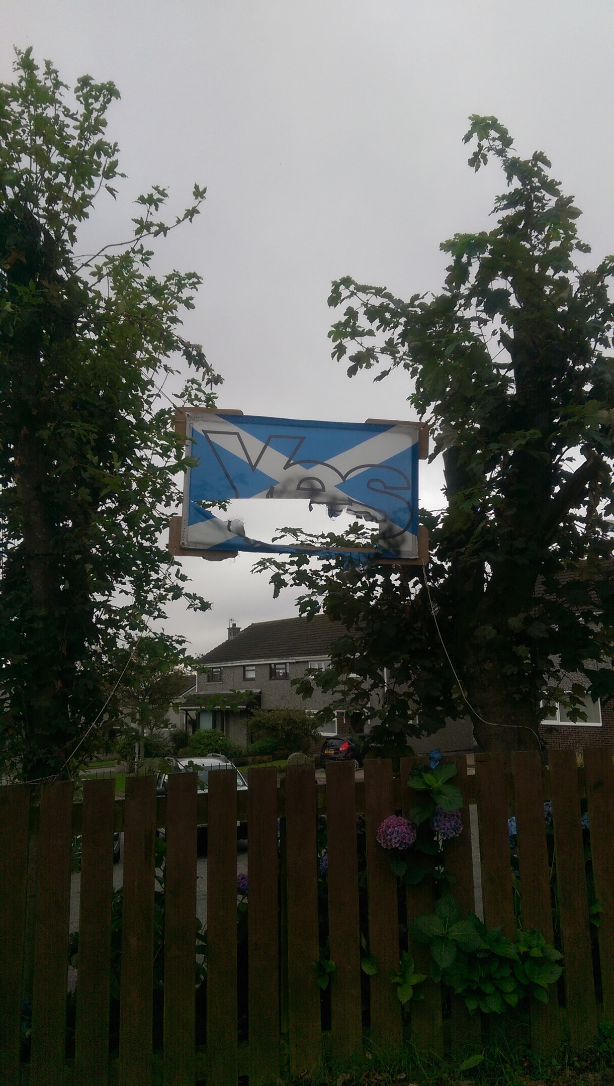 A Yes flag was torched by vandals