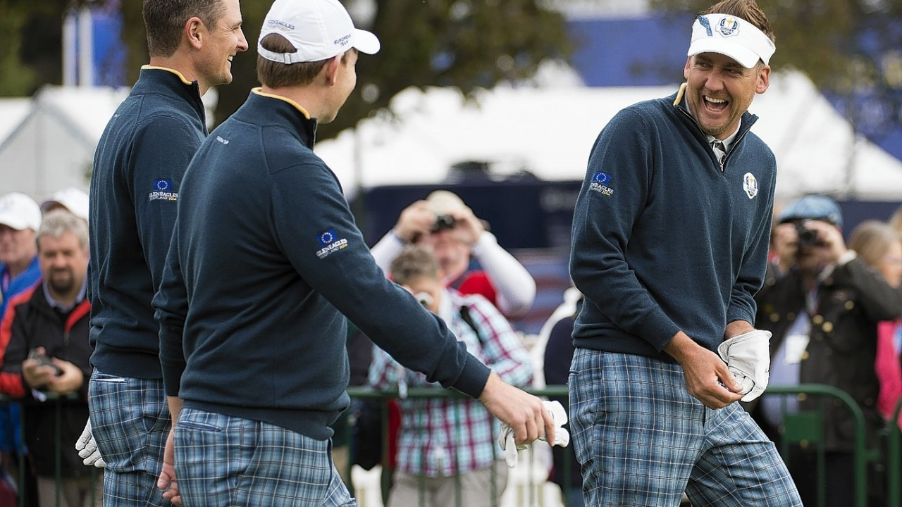 Ryder Cup veterans Ian Poulter and Justin Rose also made sure to keep Gallacher smiling