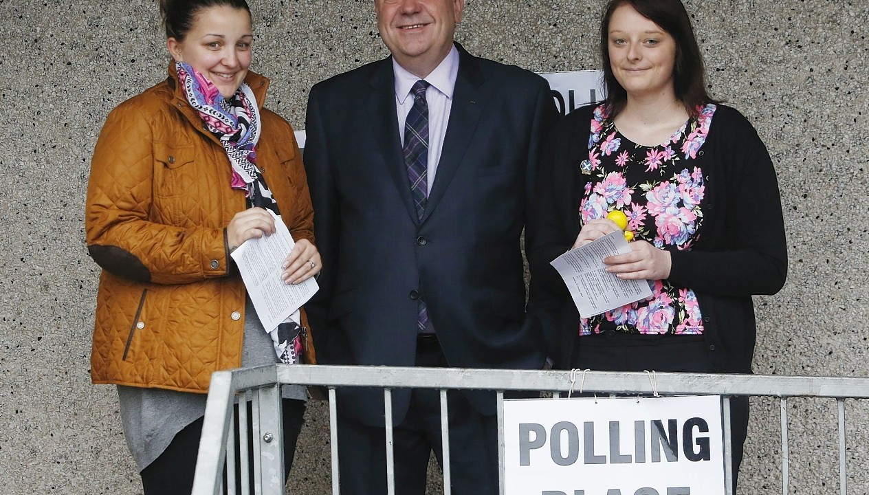Salmond was joined by first time voters this morning
