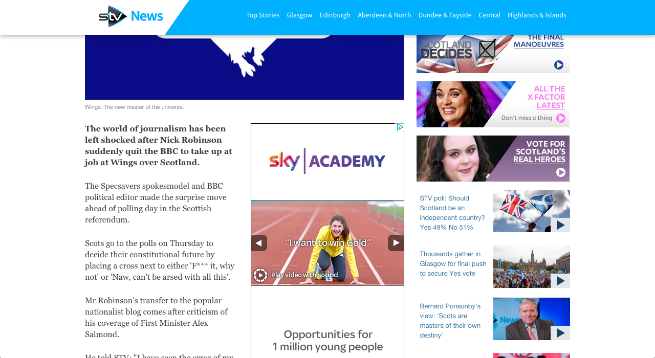 Screenshot of the article on STV